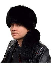 FOX FASHION Herren Trappermütze mit Schweif aus echtem Fuchsfell in schwarz  Winter Mütze Blaufuchs Pelz Fell a27c9cfcb6