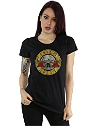 Guns N Roses Mujer Vintage Bullet Logo Camiseta