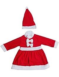 Happy Cherry-Pyjama et Bonnet en Polyester Ensemble Combinaison Bordé Grenouillère Déguisement Bébé Enfant Mignon Père de Noël Hiver Rouge Garçon Fille-80-95cm(12mois-3ans)