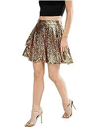 Sexy Brillant Sparkly Briller Sequin Paillette Paillettes Pailletée Sequined Métallique Mini Courte Une Ligne A-Ligne Patineuse Patineur Skirt Jupe Or