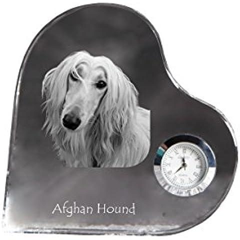 Levriero afgano, A forma di cuore orologio di cristallo con l'immagine di un cane - Cuore Afgano