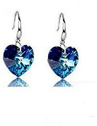 Lágrimas Pendientes C & # x153; ur Swarovski Elementos azul océano plata 925°