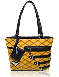 AZED Collection Leather Handbag With 3 Pocket Zipper Included (Yellow)