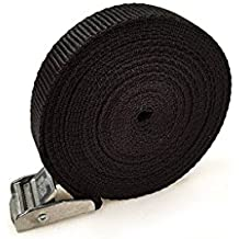 2x Correas de elevación Cam hebilla 5m x 25mm Negro Correa de equipaje de carga de 250kg–Baca