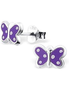 JAYARE Kinder-Ohrstecker Schmetterling 925 Sterling Silber Emaille 6 x 8 mm lila violett Ohrringe