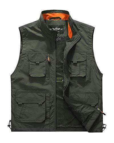 ShiFan Großformat Atmungsaktives Mesh Outdoor Weste Mit Vielen Praktischen Taschen Für Herren Armee-Grün 5XL -
