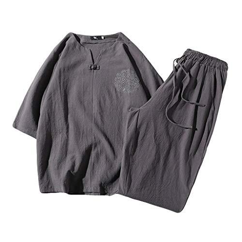 UINGKID Herren Jogginganzug Trainingsanzug Overall Jumpsuit Shirt Hose Fitness 2 Stück Outfit Leinen Set Kurzarm Sommer Freizeit Casual Short Thin Sets