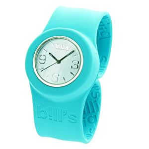 Montre Bill's Watches Classic - Montre slap silicone turquoise - Mixte - Cadran blanc