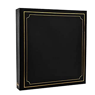 ARPAN Large Slip Album Holds 500 Photos 6'' x 4'' Gold Stamp Padded Cover Black, 34 x 4 x 33 cm