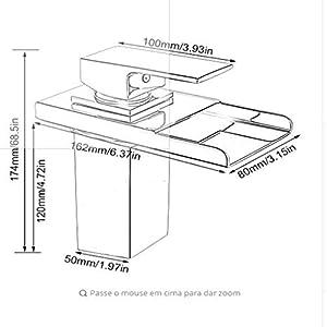 SS&LL Mezclador de cocinaLED RGB Cascada Lavabo Grifo Sola Palanca Mezclador Sin Plomo Mezclador3 Colores Mostrar…