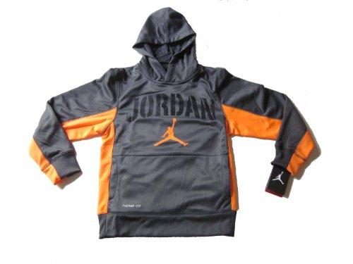 Nike Air Jordan Boys Therma Fit Hoodie Sweater Dark Grey Orange (M) - Kinder Air Jordan Für Kleidung