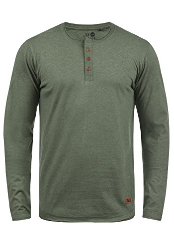 !Solid Taoki Herren Longsleeve Langarmshirt mit Grandad-Kragen aus hochwertiger Baumwollmischung, Größe:L, Farbe:Climb Ivy Melange (8785)