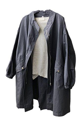 Les Détails Des Manches Longues Zip Poches Midi Patchwork Extérieur De La Tenue Solide Manteau Grey