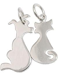 Dos colgante de silueta perro & gato plata{925} forma de corazón colgante