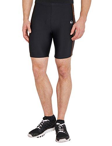 Ultrasport Pantalones cortos de correr, Negro/Naranja neón, M