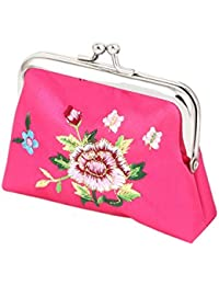Small , Magenta : Generic Floral Embroidery Kiss Lock Closure Bag Coin Purse Money Holder Wallet