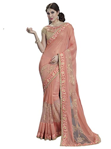 Coral embroidered shimmer saree with Blouse(3/4 sleeve)(Light Orange)