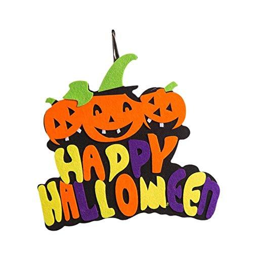 WDDqzf ornament Dekoration Statuen Kreative Halloween Anhänger Ornamente Filz Halloween Kürbis Hexe Ghost Decor (Kürbis), Happy Halloween