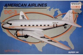 american-airlines-dc-3-super-144-airplane-14490-plastic-model-kit-by-minicraft-model-kits