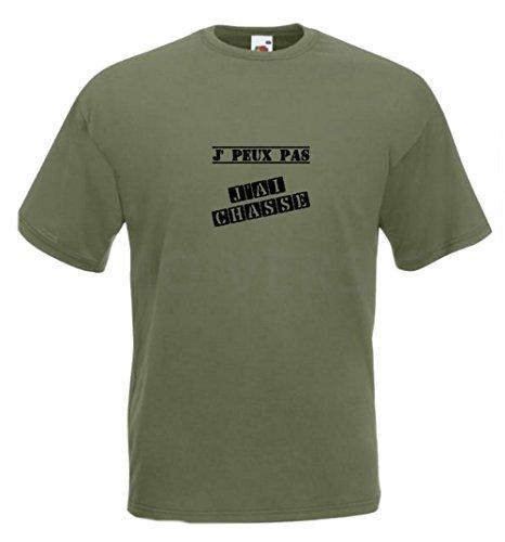 Tee-shirt j'peux pas j'ai chasse (XXL, Vert olive)