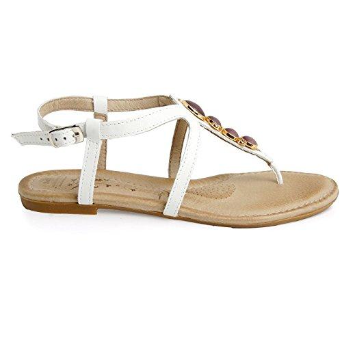 Batz FRESH 42 Sandales Chaussure en Cuir de Qualité Supérieure Femme Eté Blanc
