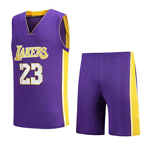 Caballeros, Lakers, 23 Nuevo Jersey Bordado Baloncesto Jersey Conjunto Púrpura