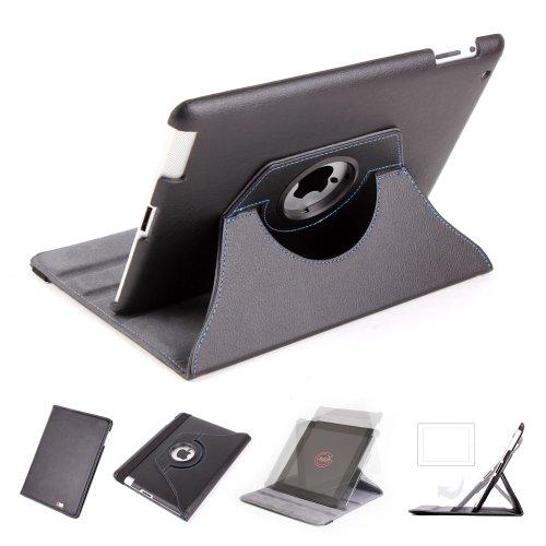 Duragadgetd Custodia Rotante Faux in Pelle per il Nuovo Apple iPad 4 Retina Display, iPad2 e iPad3 - Supporti in Ritratto e Paesaggio con Magnetic Sleep e Funzione Wake