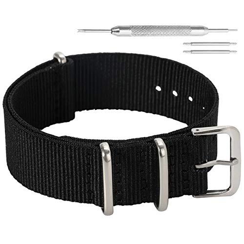 20 millimetri nero high-end stile NATO superiore nylon balistico sostituzione cinturino cinturino per gli uomini