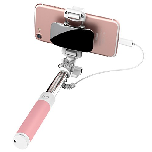 Rock iphone 7 bastone selfie,mini selfie stick con iphone lightning controllo di legare e grande specchio[139mm a 600mm]per iphone 7/7 plus e altro iphone con connettore fulmini - rosa