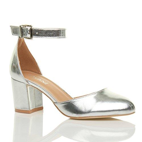 085383afd1e5bb Damen Mitte Blockabsatz Knöchelriemen Schnalle Elegant Pumps Sandalen Größe  Silber Metallisch