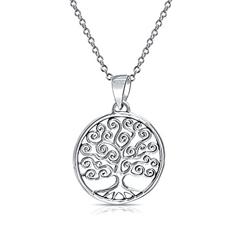 .925 Sterling Silver Celtic Swirl Circle Tree Of Life Pendant Necklace 18 Inch