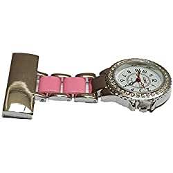 uWANTit Diamante 2 tone - Pink & Silver Nurses Medical Doctors Fob Watch