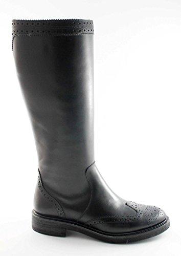 FRAU 96M9 chaussures noires bottes en cuir pointe zip décorations anglais des femmes Nero