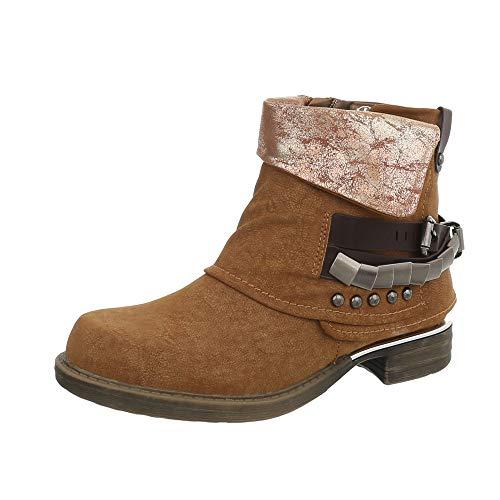 Kostüm Schuhe Aus - Ital-Design Damenschuhe Stiefeletten Western- & Bikerboots Synthetik Camel Gr. 38