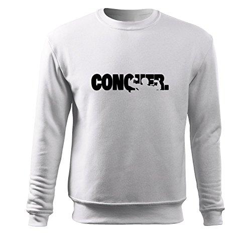 Herren Slim fit Pulli conquer Motiv Sweats-Top Shirt - witziges bedrucktes Achselshirt als kreative Geschenk Idee (280-Sweat-Weiß-S) (T-shirt Besticktes Tan)
