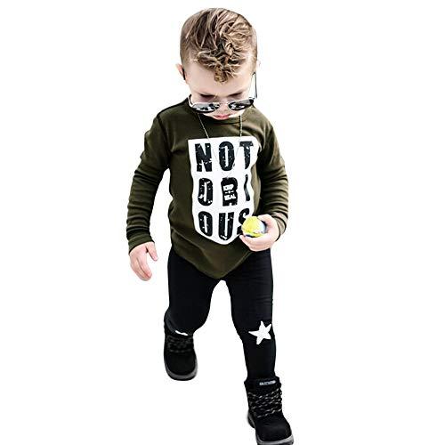 garm T-Shirt + Lange Hosen 1 Satz feiXIANG Jungen Outfit Kleidung Warm Print Blusen Rundhals(Grün, 100) ()