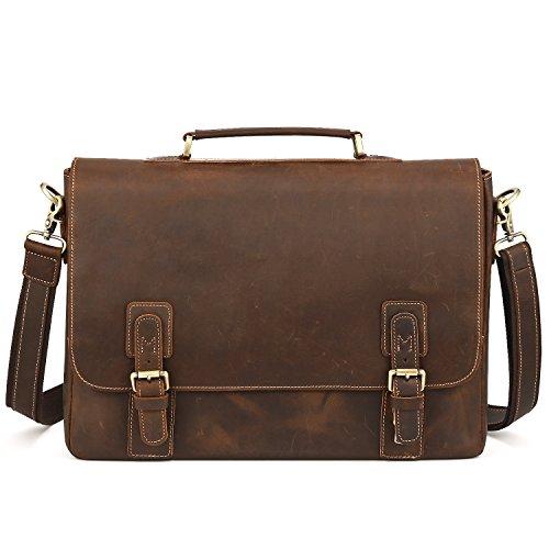 Preisvergleich Produktbild Kattee Herren Damen Verrücktes Pferd Leder Handtasche Aktentasche schultertasche Umhängetasche Businesstasche
