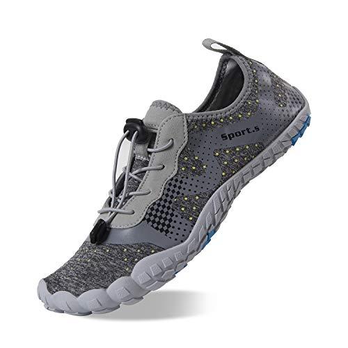 Herren Outdoor Fitnessschuhe Barfußschuhe Trekking Schuhe Badeschuhe Schnell Trocknend Rutschfest(Hellgrau,47 EU)