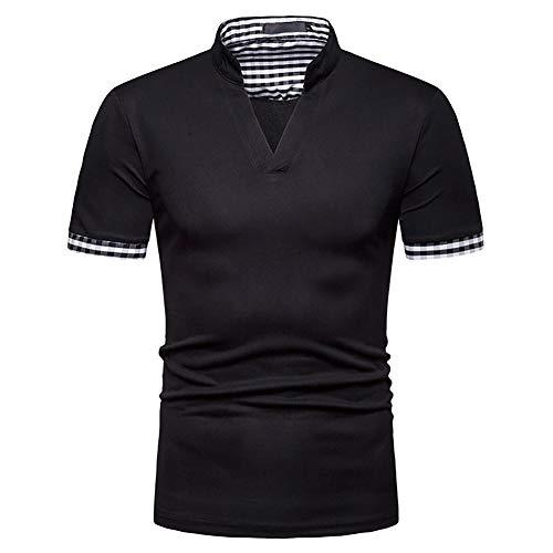 Showu Herren Poloshirts Stehkragen Polo Shirt Kurzarm Einfarbig Sommer T-Shirt, Schwarz4, L -