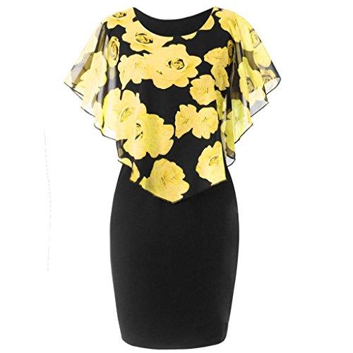 TUDUZ Sommerkleid Damen Casual Rose Print Chiffon O-Ausschnitt Rüschen Minikleid Partykleid (Gelb, XXL) (Victoria Rose Kleider)
