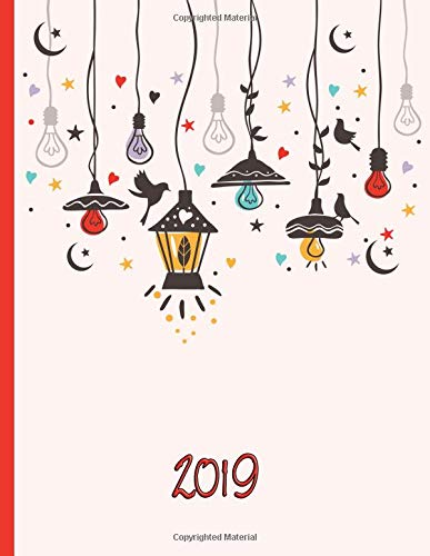 Hanging Garden Lights in the Sky with Stars, Moon, and Hearts: 2019 Schedule Planner and Organizer / Weekly Calendar
