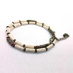 Amerikanische Indianer Halskette Elfenbein-Howlite Schmuck für Männer und Frauen CHNA26