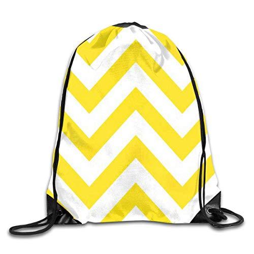 Fashion New School Bag Drawstring Backpack Gym Bag Travel Backpack Yellow Chevron Small Drawstring Backpacks Women Men Adults