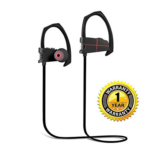 Canbor Auriculares Bluetooth 4.1 Inalámbricos Negros con Sonido Estéreo para Deporte, Cancelación de Ruido y Tecnología APTX