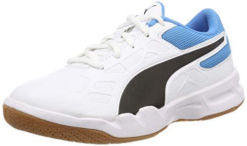 Puma tenaz jr, scape per sport indoor unisex-bambini, bianco white black-bleu azur-gum, 37 eu