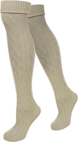 LANGE Trachtensocken Trachten Strümpfe für lederhosen Kniebund Socken Natur Farbe
