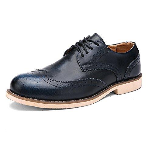 Shenn Uomini Moda Uniforme Oxfords Scarpe Allacciare Brogues Vestito Scarpe
