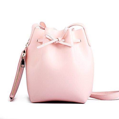 Meoaeo Secchio Di Cuoio Sacco Sacco Sacco Sacco Semplice Moda Rosa Pink