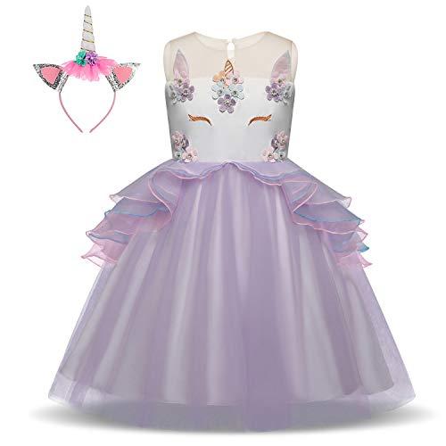 Pretty Princess Mädchen Kinder Einhorn Cosplay Lila Prinzessin Kleid ärmellose Tüll Rüschen Tutu Welttag des Buches Kostüm 3-4 jahre (Beste Welttag Des Buches Kostüme)