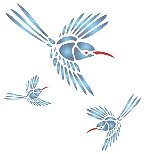 Kolibri Schablone-wiederverwendbar großen Garten Vogel Spring Wandbild Wand Schablone-Vorlage, auf Papier Projekte Scrapbook Tagebuch Wände Böden Stoff Möbel Glas Holz etc. m - Kolibri-stoff